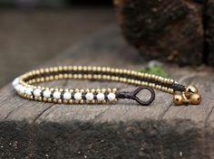 Howlite Bead Brass Anklet