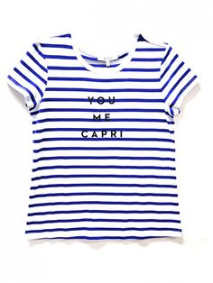 MILLY for DesigNation You Me Capri Striped Tee // Royal Blue Striped Graphic Tee