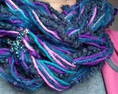 Purple and blue arm knitting scarf