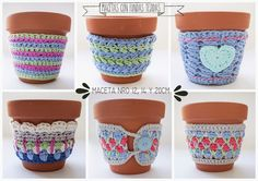 Girom deco - Hobbies paining body for kids and adult Crochet Coffee Cozy, Crochet Cozy, Freeform Crochet, Love Crochet, Crochet Gifts, Crochet Jar Covers, Cotton Cord, Garden Crafts, Crochet Accessories