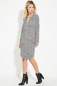 Contemporary Stripe Shirt Dress