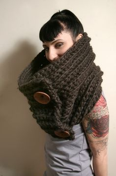Spratters & Jayne 2-Button Cowl Scarf in Chocolate Brown, neckwarmer, crochet, chunky, knit- Ready to Ship. $65.00, via Etsy.