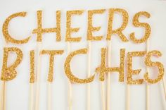CHEERS BITCHES Gold Glitter Cake Topper  by thesweetpetiteshop, $13.00