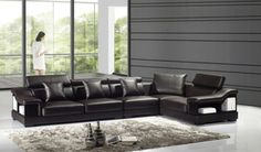 Dark Chocolate Storage Leather Sectional Sofa Set Adjustable Headrest