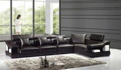 Dark Chocolate Storage Leather Sectional Sofa Set Adjustable Headrest