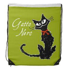 Gatto Nero Black Cat Cinch Bag :) #Cat #Backpack #Cinchbag #Black #smile
