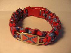 Rebel Flag Paracord Bracelet Survival Strap $11.95
