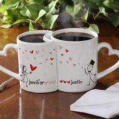 Personalized Couples Coffee Mug Set - Blown Away By Love $24.95