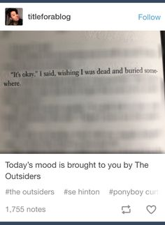 The Outsiders was my favorite in seventh grade because we had to read it