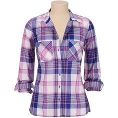Lightweight plaid print button down shirt ($29) found on Polyvore