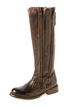 """TANGO the vintage, two-zip moto boot pairs perfect with skinny jeans or patterned leggings and an oversized sweater. Find your inner rocker with this very cool, rugged boot.    Measures:16.5"""" shaft, 1.25"""" heel, 17"""" circumference   Tall Brown Boot by Bedstü. Shoes - Boots - Flat Canada"""