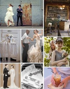 1920s Inspiration Board {Speak-Easy Style}  from Bridal Bubbly  LOVE her wedding dress, and am intrigued by the bridesmaid's dresses and styles.