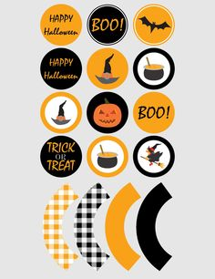 Printable cupcake toppers | Printable cupcake wrappers | Printable Party Circles | Halloween Party | Instant Download PDF by JJPrintables on Etsy