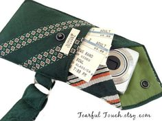 Recycled Vintage Necktie Wristlet Hunter Green Cell Phone Wallet (iPhone Blackberry Droid Samsung Smartphone iTouch iPod MP3 Camera Case)