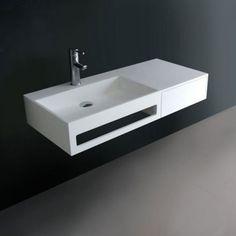Mobilier sous vasque en bois pour salle de bain. Modèle suspendu ...