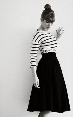 stripes with midi skirt #classic