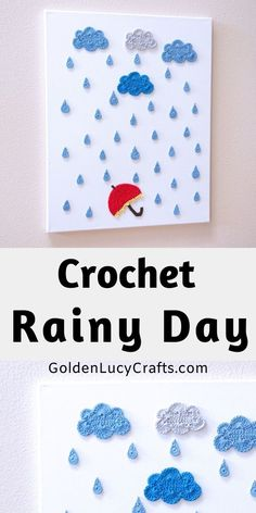 This Rainy Day Crochet Wall Art will be a beautiful decoration for your home or office. It would be a wonderful DIY project to make for yourself or as a gift for somebody who loves rain. Crochet Wall Art, Crochet Wall Hangings, Knit Art, Crochet Home Decor, Crochet Motif, Crochet Appliques, Free Crochet, Crochet Patterns, Diy Crochet Projects