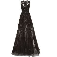 Elie Saab Embroidered Tulle And Silk Georgette Gown ($11,195) ❤ liked on Polyvore featuring dresses, gowns, floral print evening gown, embroidered dress, floral gown, sleeveless dress and beaded evening gowns