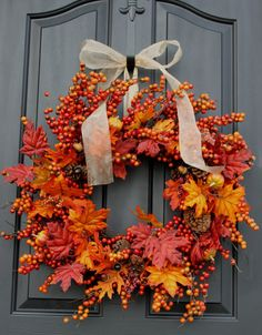 Fall wreath Autumn Wreaths for door  Berry wreath by OurSentiments, $67.00