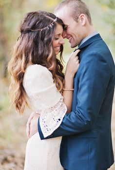 Adorable boho bride with her dapper groom #wedding #photography