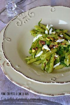 Cucina di Barbara: food blog - blog di cucina ricette: Ricetta penne con pesto di cime di rapa, pistacchi e primo sale