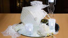 White lace print paper lantern