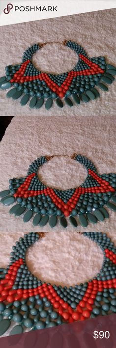 GORGEOUS turquoise and coral colored necklace NWOT Turquoise and Coral Statement necklace with gems💙 Jewelry Necklaces