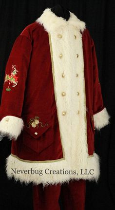 Custom Victorian Santa Costume ( Each is One of A Kind) Christmas Suit, Father Christmas, Christmas Goodies, Mrs Claus Outfit, Embroidery Designs, Christmas Portraits, Santa Outfit, Santa Doll, Santa Suits