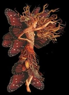 Confessions of a Kitchen Witch: Lammas/Lughnasadh: fairy art Faerie Butterfly Fairy, Butterfly Wings, Orange Butterfly, Madame Butterfly, Butterfly Kisses, Magical Creatures, Fantasy Creatures, Fairy Land, Fairy Tales