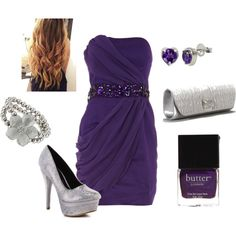 silver and purple, created by cinthya-martinez.polyvore.com