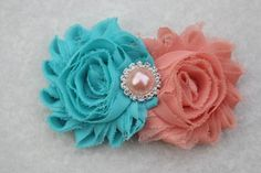 Coral and turquoise hair clip, coral hair bows coral and turquoise flower girl…
