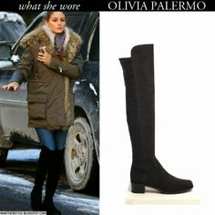 Olivia Palermo in black suede over the knee Stuart Weitzman boots with fur trim parka Want Her Style Winter Fashion #oliviapalermo #fashion #style #boots #winter #outfit