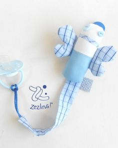 Blue butterfly pacififer holder. Original baby gift from Zezling!