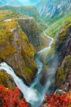 Well, that's one of the most incredible landscape views I've seen on here. Wish my every-day reality was that I can walk outside and see the land in front of me looking like that. --Pia (Vøringfossen Waterfall, Bergen, Norway)