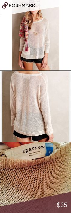 Anthropologie Sparrow Sweater in Linen Great condition sweater, only worn once. 56% linen, 24% viscose, 20% cotton. Anthropologie Sweaters Crew & Scoop Necks