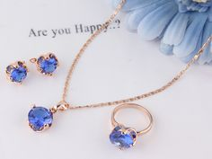 Free shipping environmental New Fashion Women's 14K Rose Gold Filled 4 Colors Sapphire necklace earrings ring jewelry set Gift-in Jewelry Sets from Jewelry on Aliexpress.com | Alibaba Group