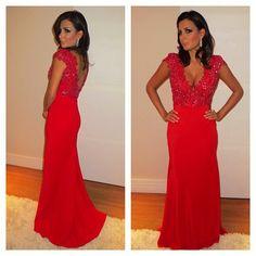 Long Evening Dresses,Red Prom Dresses,V Neck Prom Dresses,Cap Sleeve Prom Dress,Chiffon Prom Dress,Mermaid Prom Dresses