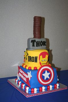 Side view of the Avengers Cake