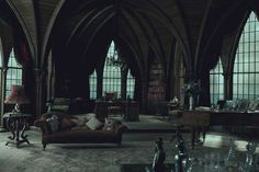 Both cozy and bookish with Gothic flair. Just like the Slytherin common Room Gothic Mansion, Gothic House, Gothic Castle, Victorian Gothic Decor, Gothic Chic, Modern Victorian, Haunted Mansion, Slytherin House, Hogwarts Houses