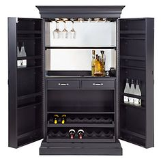Our Jake Bar Cabinet is handsome and ideal for any environment. Locking doors include strong piano hinges and loads of storage for heavy bottles and gear.