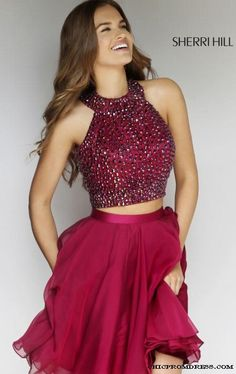 2015 Sherri Hill Burgundy 11290 Two Piece Homecoming Dress