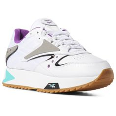 3836fea6cf29 Reebok Shoes Women s Classic Leather ATI 90s in White Teal Aubergine Size 7  - Retro Running Shoes