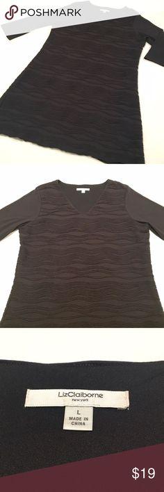 Liz Claiborne Black Dress Black 3/4 length sleeve dress with textured, wavy striped fabric by Liz Claiborne.  Size Large.  Excellent condition! Liz Claiborne Dresses Midi