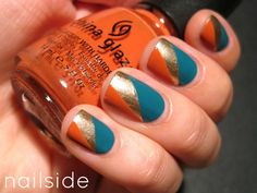 Autumn Nail Colors (tricolor nail - teal, gold & orange) #tape #fall