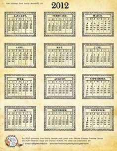 Heartwarming Vintage 2012 Printable Calendar. This is the calendar we update every year. If you click the 'next' button under the calendar it will take you to the 2011.