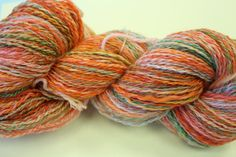 Handspun Superwash Merino, 2 ply, dyed with food coloring