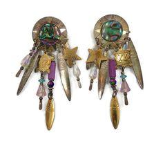Gypsy Sun & Star Charm Earrings   Vintage Big by InVintageHeaven, $28.00