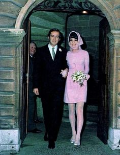 Audrey Hepburn and Andrea Gotti on their wedding day. Dress: Hubert de Givenchy. Lake Geneva 1/18/1969. (m. 1969 - d. 1982)