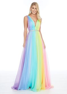 Ashley Lauren 1863 size 12 Pastel Rainbow Prom Dress Formal Chiffon Pageant Gown 2020 Source by glassslipperformals dresses 2020 pastel Pretty Prom Dresses, A Line Prom Dresses, Beautiful Dresses, Formal Dresses, Neon Prom Dresses, Quince Dresses, 15 Dresses, Fall Dresses, Rainbow Outfit