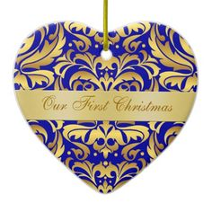 Our First Christmas Blue Gold Damask Ornament newly weds, wedding gift